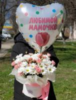Композиция в нежно розовых оттенках с гелиевым шариком