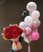 Букет из 55 красных роз и фонтан из шаров любимой