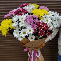 Букет с разноцветными хризантемами